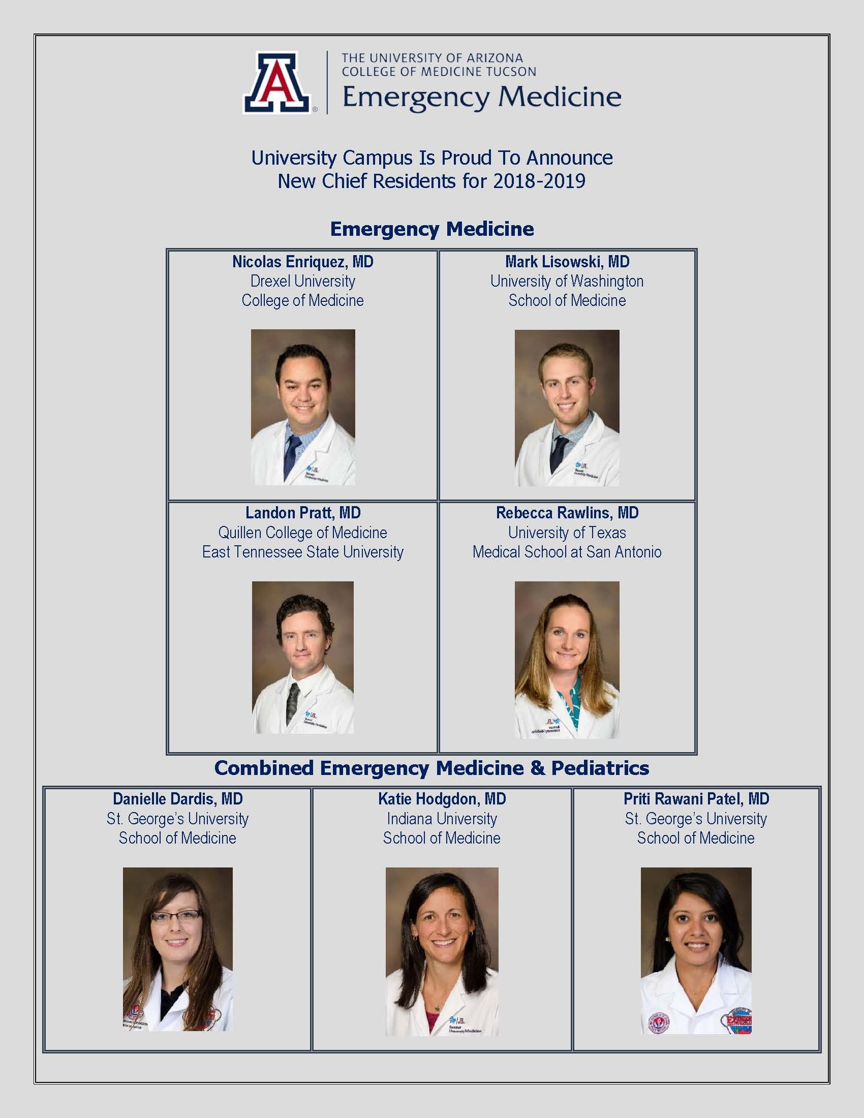 UC Chief residents