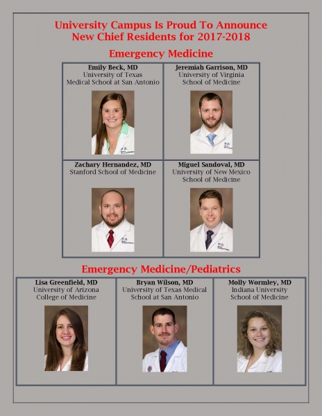 UC Chief Residents 2017-18